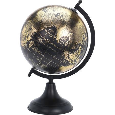 Wereldbol Wereldbal Decoratie Zwart Goud Antiek 20 X 33 Cm Fun En Feest